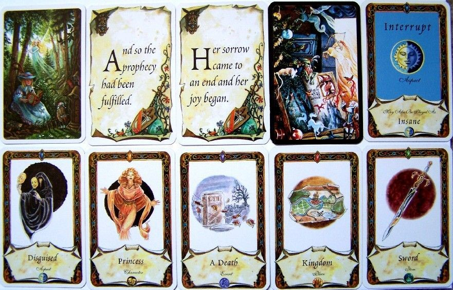 Example of the artwork on the back of Happy Ending cards, two happy endings, the art on a story card and examples of each type of story card